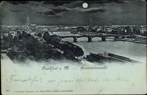 Mondschein Ak Frankfurt am Main, Gesamtansicht vom Ort