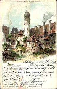 Künstler Litho Trost, F. Darmstadt in Hessen, Weißer Turm im Jahre 1863,
