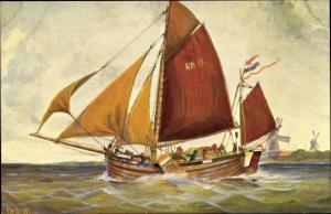 Künstler Ak Rave, Chr., Marine Galerie 43, Holländische Bom, 1907, Windmühlen