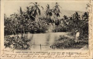 Ak Saint Pierre Martinique, Cours d'Eau, Mann am Flussufer, Landschaftsmotiv