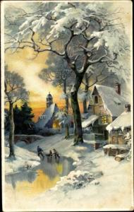 Litho Kinder mit Schlitten auf zugefrorenem Fluss, Häuser, Kirche, Winteransicht