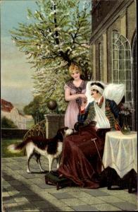 Künstler Ak Ebbinghaus, W., Genesen, verwundeter Soldat mit Frau und Hund, Husar