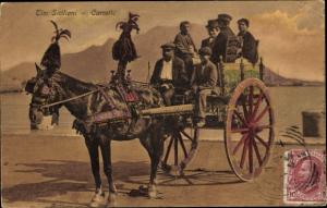 Ak Sizilien, Tipi Siciliani, Carretto, Sizilianer auf geschmückter Kutsche