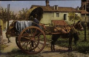 Ak Roma Rom Lazio, Carrettiere da vino, Weinfässer auf Fuhrwerk, Kutscher
