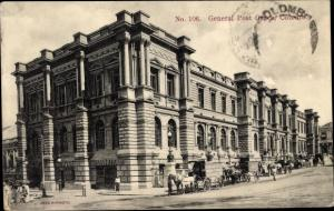 Ak Colombo Ceylon Sri Lanka, General Post Office, Postgebäude, Kutschen