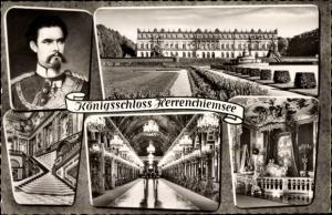 Ak Herrenchiemsee Chiemsee in Oberbayern, Königsschloss, Innenansicht, König Ludwig II
