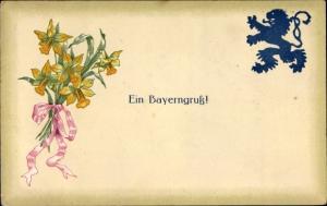 Präge Litho Ein Bayerngruß, Löwe, Narzissen, Blumenstrauß