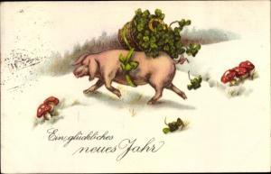 Ak Glückwunsch Neujahr, Schwein mit Kleeblättern, Hufeisen, Fliegenpilze, EAS 5082
