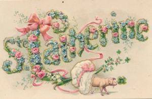 Buchstaben Präge Litho Sainte Catherine, weiblicher Vorname, Schwein, Kleeblatt