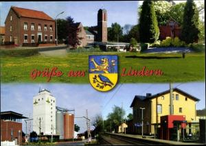 Wappen Ak Lindern Oldenburg Niedersachsen, Bahnhof