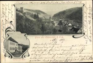 Ak  Liebenstein im Thüringer Wald, Totalansicht, Gasthof zum Ritter