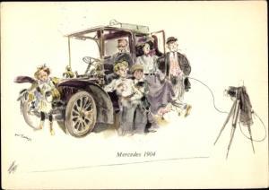 Künstler Ak Mercedes 1904, Fotoapparat