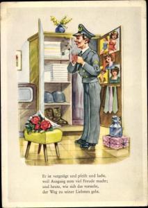 Ak Verkehrspolizist, Uniform, Blumen, Geschenke