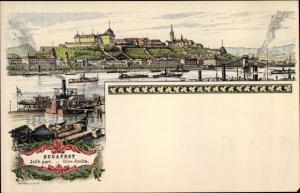 Ak Budapest Ungarn, Rive droite, Partie am Fluss