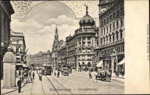 Ak Budapest Ungarn, Elisabethring, Tram, Kutsche