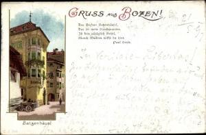 Litho Bozen Bolzano Südtirol, Batzenhäusl, Gedicht Paul Heyse