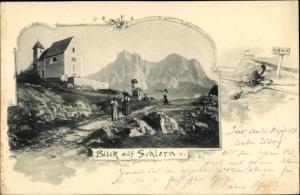 Ak Schlern Kastelruth Castelrotto Südtirol, Kirche, Alpen, DÖAV