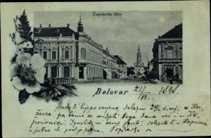 Mondschein Ak Belovar Kroatien, Zagrebacka ulica