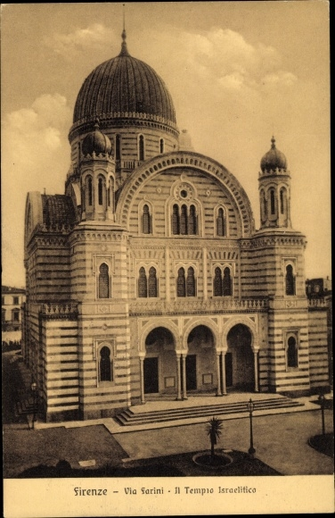 Judaika Ak Firenze Florenz Toscana, Via Farini, Templo Israelitico, Synagoge 0