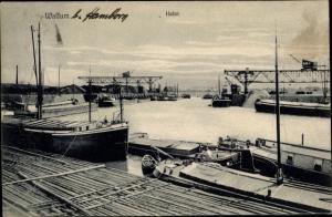 Ak Walsum Duisburg im Ruhrgebiet, Hafen, Binnenschiffe, Schiffskräne