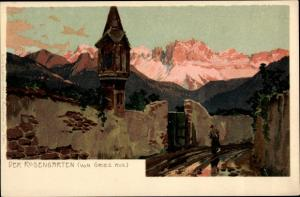 Künstler Ak Torri di Vajolet Vajolettürme Rosengarten Dolomiten Südtirol, Panorama von Gries aus