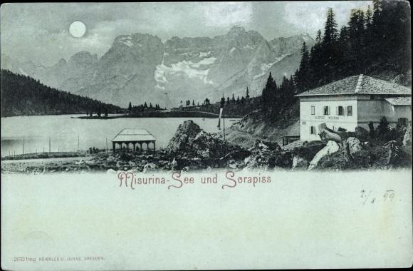 Mondschein Ak Misurina Veneto, Misurina See und Sorapiss 0