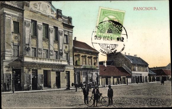 Ak Pancsova Pantschowa Serbien, Marktplatz, Laden von Stefanie Kalmar 0
