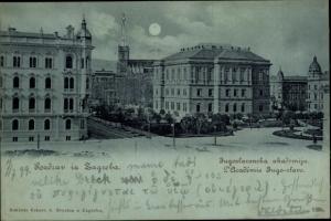 Mondschein Ak Zagreb Kroatien, Jugoslawische Akademie