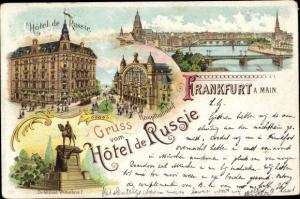 Litho Frankfurt am Main, Brückenpartie, Hauptbahnhof, Hotel de Russie, Denkmal Wilhelm I