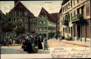 Ak Bensheim an der Bergstraße Hessen, Marktplatz, Kolonialwarenhandlung Heinrich Fleck