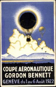 Künstler Ak Genève Genf Stadt, Coupe Aéronautique Gordon Bennett 1922