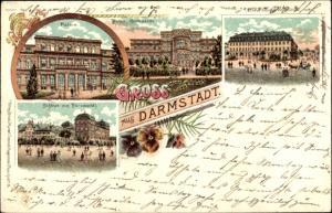 Litho Darmstadt in Hessen, Palais, Gartenseite, Wilhelmstraße, Schloss vom Paradeplatz