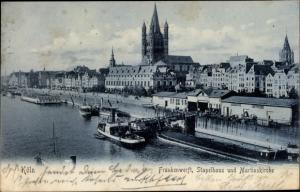 Ak Köln am Rhein, Frankenwerft, Stapelhaus und Martinskirche