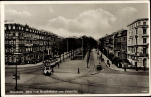 Ak Mannheim, Blick vom Hauptbahnhof zum Kaiserring, Straßenbahn, G. Siechen, Hotel