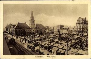 Ak Mannheim in Baden Württemberg, Marktplatz mit Rathaus, Straßenbahn