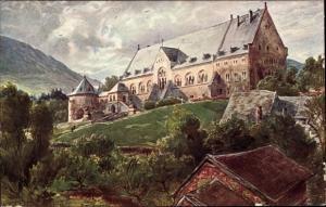 Künstler Ak Goslar in Niedersachsen, Kaiserhaus, Gesamtansicht, Bergpanorama