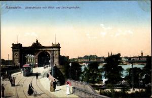 Ak Mannheim in Baden Württemberg, Rheinbrücke mit Blick auf Ludwigshafen