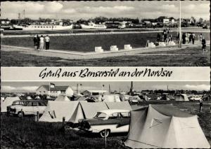 Ak Bensersiel Esens in Niedersachsen, Blick zur Fähre, Zeltplatz, Autos