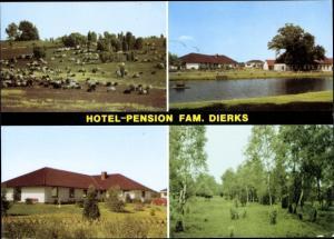 Ak Repke Dedelstorf in Niedersachsen, Hotel Familie Dierks, Außenansicht, Waldpartie, Weide, Tiere