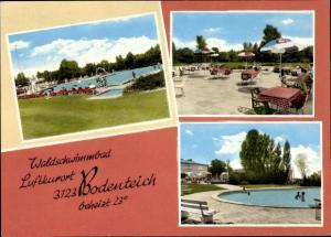 Ak Hankensbüttel in Niedersachsen, Waldschwimmbad, Terrasse, Ansichten