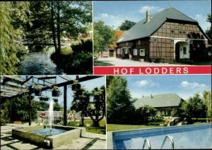 Ak Prisser Dannenberg an der Elbe, Hof Lodders, Außenansicht, Schwimmbad, Brunnen, Partie mit Brücke