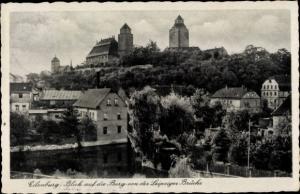 Ak Eilenburg an der Mulde Sachsen, Burg von der Leipziger Brücke gesehen