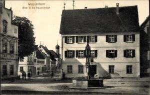 Ak Weissenhorn in Schwaben, Blick in die Hauptstraße, Brunnen, Brauhaus, Kirchturm