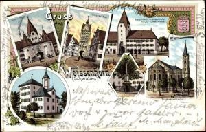 Wappen Litho Weißenhorn in Schwaben, Fuggerschlösschen, Bes. L. Gaiser, Stadtpfarrkirche, Oberes Tor