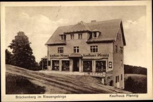 Ak Brückenberg bei Krummhübel Riesengebirge Schlesien, Kaufhaus Pfennig