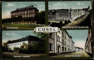 Ak Koźle Cosel Oberschlesien, Volksschule, Bahnhofstraße, Quadtstraße, Garnison Lazarett, Kasernen