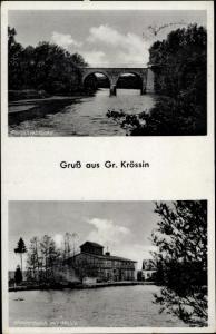 Ak Krosino Groß Krössin Bialowas Balfanz Pommern, Persantebrücke, Mühlenteich, Mühle
