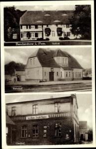 Ak Będziechowo Bandsechow Pommern, Schloss, Bahnhof, Gasthof Ewald Haase