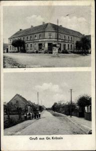 Ak Krosino Groß Krössin Bialowas Balfanz Pommern, Gasthaus Willi Sendelbach, Dorfstraße