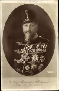 Ak König Ferdinand I. von Bulgarien, Österr. Ung. Oberst Inhaber, Uniform, Orden